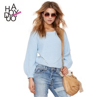 2015 New Women Long Lantern Sleeve Knitted Sweaters Hollow out Hoodies for Wholesale Haoduoyi