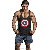 Europe hot sale Cotton screen printed Top Mens Bodybuilding Stringer Undershirt Fitness Vest Muscle Sleeveless undershirt