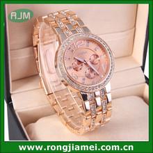 Luxury gold geneva diamond watch, chrono lady party watch, rhinestone analog wristwatches