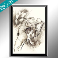 Printing painting black and white naked girl picture wall painting nude woman body oil painting