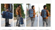 Multifunctional Canvas Backpack Hiking Travel Bag