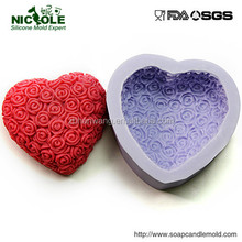 Hot selling 3D Heart rose shape silicone chocolate,soap mould
