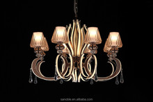 Golden LED chandelier lamp with crystal
