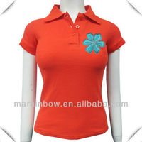 ladies' bright embroidered polo shirts 100% cotton