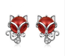 natural red agate fox animal shape girl fashion 925 silver stud earring jewelry cheap chinese earring