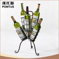 Wholesale home decoration brown antique imitation metal wine bottle holder