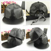 High Quality Custom Leather Snapback Black Leather Snapback Hat Wholesale