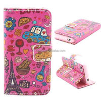 Cartoon Flip Wallet PU+TPU Leather Stand Case Cover For Apple iPhone 4 4G 4S