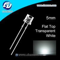 Professional manufacturer 5mm flat top through hole water clear light emitting diode 5mm led white flat top