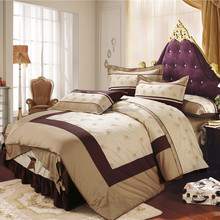 100 cotton Reactive dyes printed duvet cover sets with embroidered