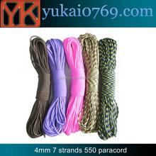 Yukai camping hiking survival 7 strands paracord rope/rock climbing 550 paracord