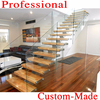 Popular Villa wrought iron stair / Steel Wood Stairs / staircase Glass Steel Stairs