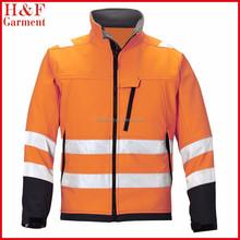 high vis softshell reflective jacket orange