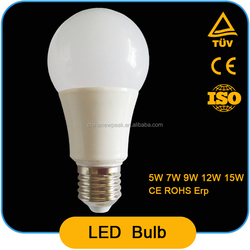 high quality A60 led bulb e27 5w 7w 9w 12w ,Al+pbt ,90lm/w,CRI>80,constant current driver pass CE ROHS ERP