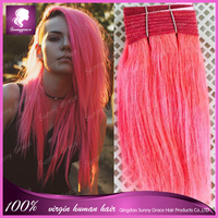 New Arrival! Short Straight Brazilian Hair Extension Pink Cheap 100% Hair Extension Hair Weft 50g/pc $8.5/pc