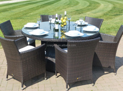 2015 New Wicker Round glass table and 6 seats chairs rattan outdoor furniture