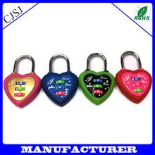 New design pink zinc alloy lover's heart lock