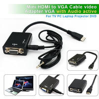 Free shipping HDMI Type C mini hdmi to vga converter with audio for PC,Laptop,Tablets Camcoders to VGA displays