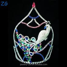 Fashion Design Colored Rhinestone Pageant Tiara Peacock Crown bridal crown jewelry tiara wedding