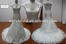 Bridal Cap Sleeves Sweetheart&Hand-made Luxe Lace Mermaid Wedding Dress 2012