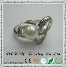 Special 6MM pearl diamond ring queen style refined hot models factory direct