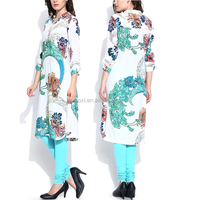 China supply latest designing fashion printed party wear kurti for women