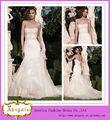 2014 elegante da sereia Strapless Bling Wedding Dress Com frisada corpete até o chão Tulle saia Trem da varredura (MN1260)