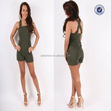 2016 Summer Import China Products Lavish Alice Khaki Crossover Strap Structured Sexy Womens Playsuit And Jumpsuit