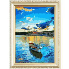 New pattern small boat diy oil painting by numbers for adults