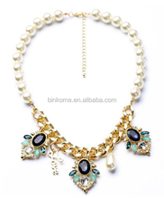 wholesale fashion jewelry metal jewelry colorful pearl necklace for woman Lady jewelry wholesale