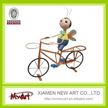 Garden decoration butterfly boy on bicycle iron bike decoration