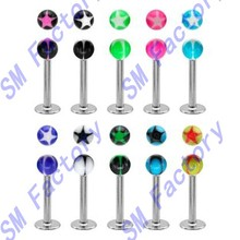 10 bright color star stars uv balls labret monroe lip tragus piercing bar ring --SMCD327060