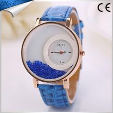 2015 Moving Rhinestone Bead Leather Strap Fashion Ladies Watch Elegent Casual Wristwatch Women Dress High Quality LW004