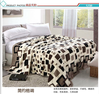 2015 grid milk design super soft comfortable and anti-pilling flannel fleece blanket bed sheet