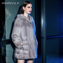 Factory sale natural sapphire mink fur hooded coat for women