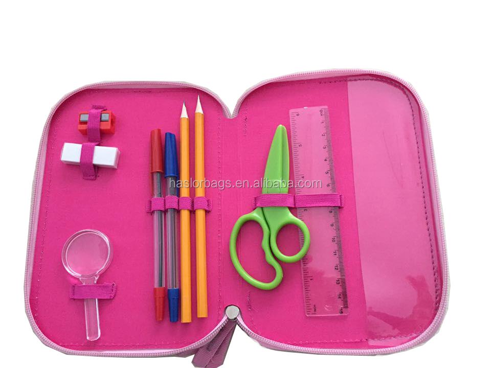 Mignon fille 2 couches crayon cas / Double zip étui à crayons pour les filles