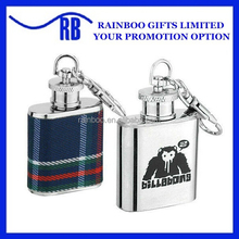 Supply Logo printing factory price stainless steel jean cheap 1oz mini stainless steel hip flask with keychain