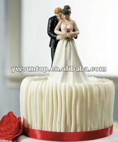 Yes to the Rose Bride and Groom Couple Figurine Wedding Cake Toppers