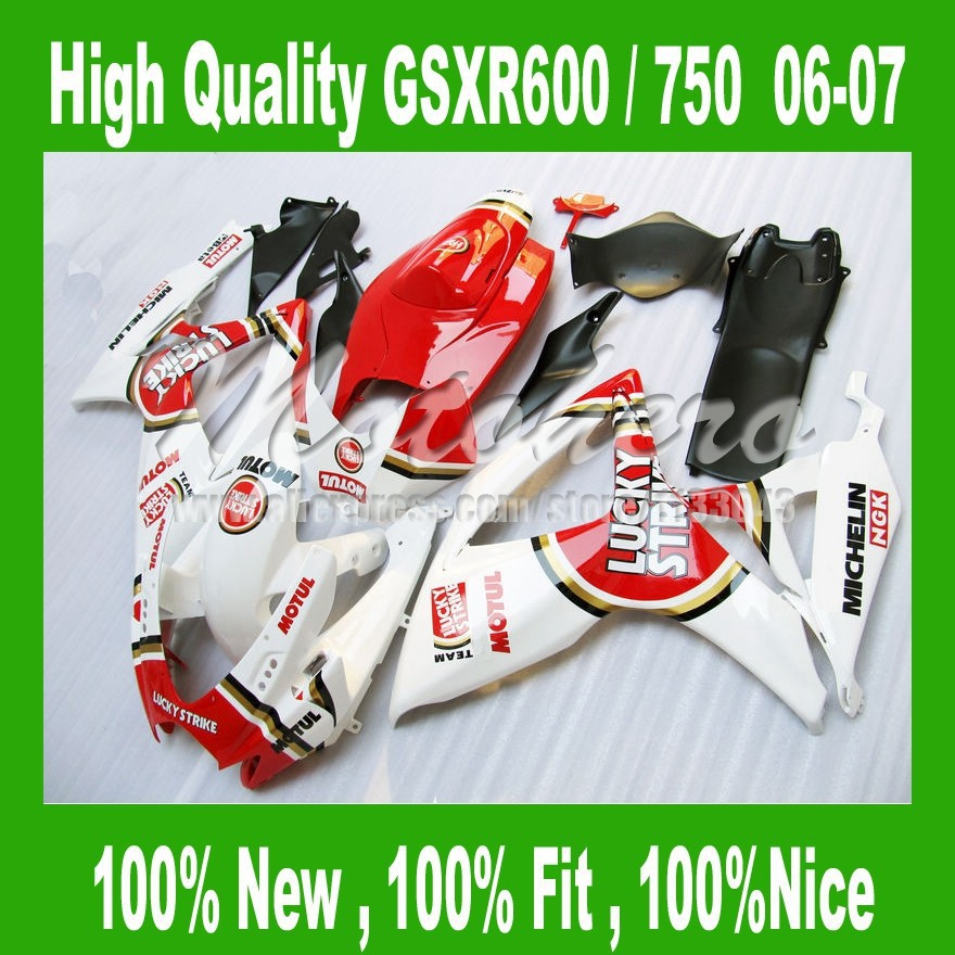 LUCKY STRIKE Fairings for SUZUKI GSXR 600 06 07 red white GSXR 750 06 07 GSX-R600 750 2006 2007 fairing kits full set #24AA
