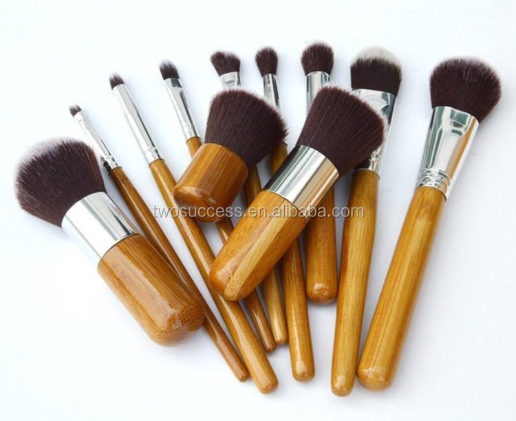 11pcs cosmetic bamboo brushes