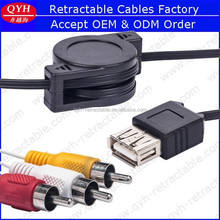 Retractable type usb female to rca male cable