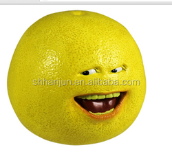 Yellow PU Foam Lemon Kids Fruit Shaped Bulk Stress Balls a