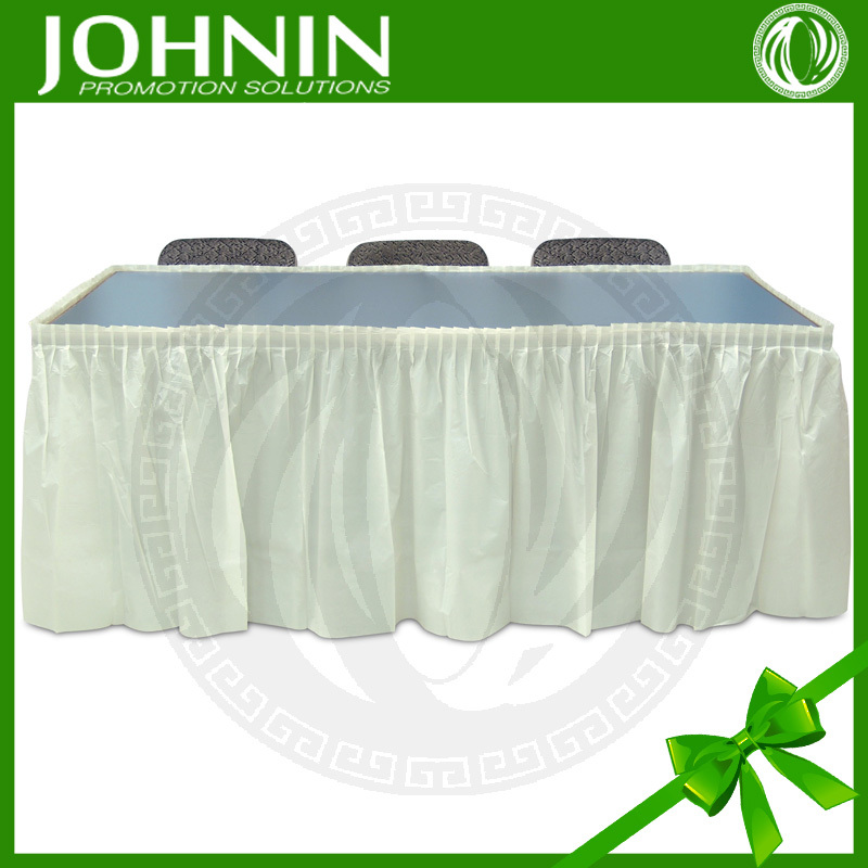 ... sale wedding decor cheap 100%polyester Fabric steps in table skirting