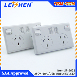 Australia commercial Power Multiple Outlet Mini SAA USB Wall Charger Surge Protector with 2.1A Dual USB, AU plug