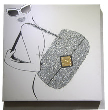 morden fashion girl canvas fine art prints with glitter for wall decoraion