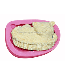 Customize Cake Decorating Supplies Cat Napping In A Basket Silicone Cupcake Mold