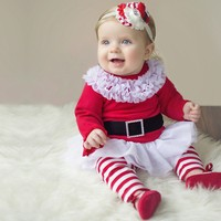 Christmas kids clothing set red girls Christmas Lingerie 2 pcs children clothing set
