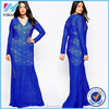Elegant Blue Lace Floor Length Dress long sleeve Vneck Slim Long Maxi Prom Party Evening Dresses