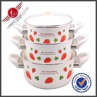 New Kitchen Set White Flower Printed Enamel Aluminium Steel Cookware