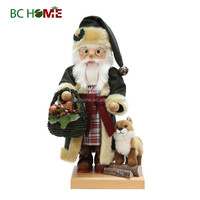 exquisitely crafted santa claus wooden Nutcracker with dog